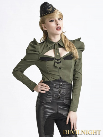 Green Uniform Style Shirt with Puff Sleeves