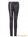 Black Gothic Punk High-Waist PU Legging for Women