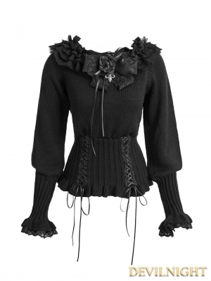 Black Gothic Lolita Sweater