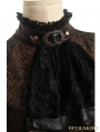 Brown and Black Bowtie Bubble Sleeves Steampunk Shirt