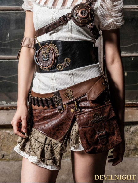 Brown Steampunk Short Skirt With Waist Bag Devilnight Co Uk