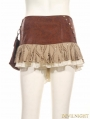Brown Steampunk Short Skirt with Waist Bag