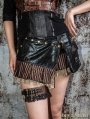 Black Steampunk Short Skirt with Waist Bag