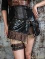 Black Steampunk Short Skirt with Waist Bag
