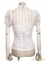 White Short Sleeves Bowtie Steampunk Shirt