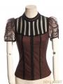 Brown Short Sleeves Bowtie Steampunk Shirt