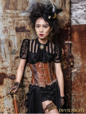 Black Short Sleeves Bowtie Steampunk Shirt