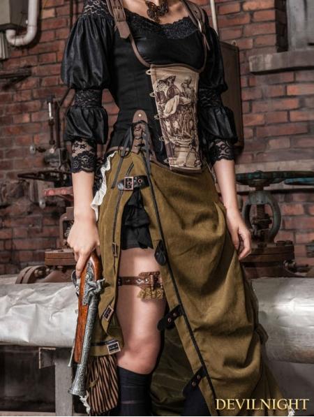4d810f6a0a Army Green Victorian Steampunk Bustle Long Skirt - Devilnight.co.uk