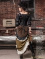 Army Green Victorian Steampunk Bustle Long Skirt