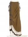 Army Green Victorian Steampunk Bustle Long Skirt