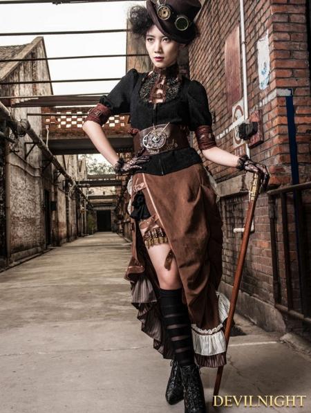 Brown Victorian Steampunk Bustle Long Skirt Devilnight Co Uk
