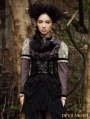 Grey Long Sleeves Bowtie Victorian Steampunk Blouse