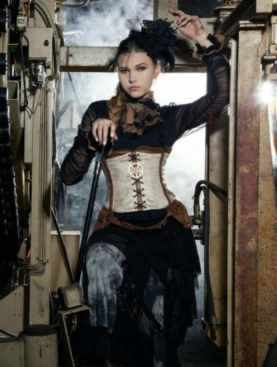 Black Long Sleeve Bowtie Steampunk Shirt