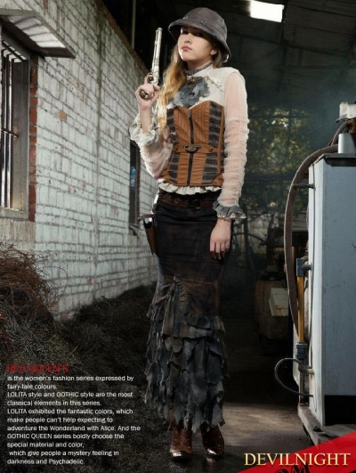 Steampunk Fishtail Long Skirt