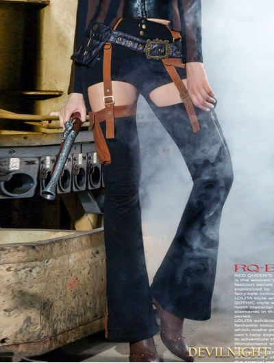 Black and Brown Long Steampunk Pants