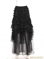 Black Layers Steampunk Long Skirt