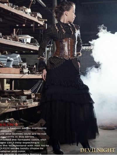 Black Layers Steampunk Long Skirt