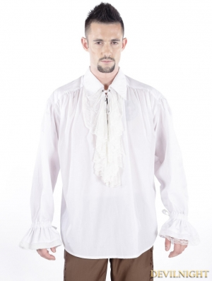White Vintage Gothic Blouse for Men