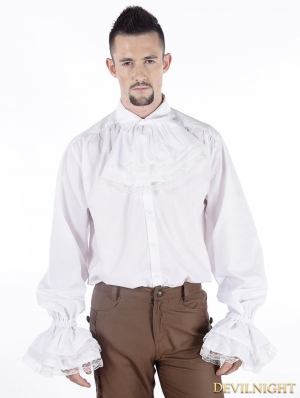 White Vintage Bowtie Gothic Blouse for Men