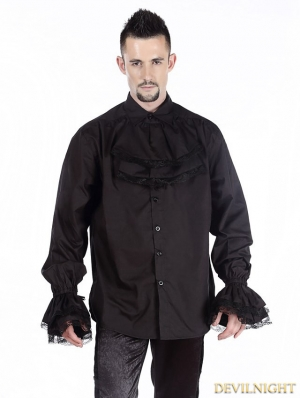 Black Vintage Bowtie Gothic Blouse for Men