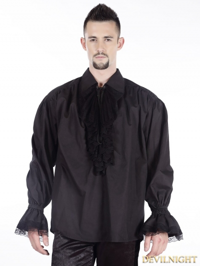 Black Vintage Gothic Blouse for Men