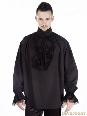 Black Vintage High Collar Gothic Blouse for Men