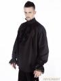 Black Vintage High Collar Gothic Blouse for Men