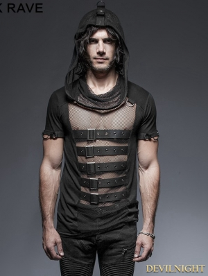 Black Gothic Hooded Mesh T-Shirt for Men