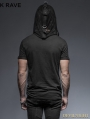 Black Gothic Hooded Mesh T-Shirt for Men