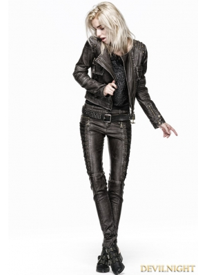 Coffee Steampunk Leather Trouser for Women