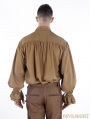 Brown Vintage Steampunk Blouse for Men