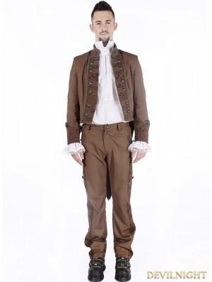 Brown Vintage Steampunk Tuxode Jacket for Men