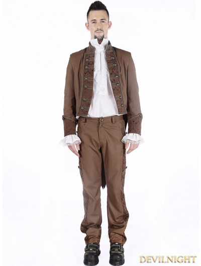 Brown Vintage Steampunk Tuxedo Jacket for Men