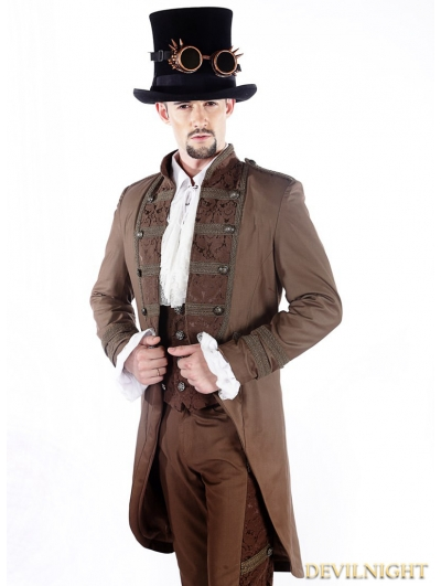 Brown Vintage Double-Breasted Steampunk Jacket for Men