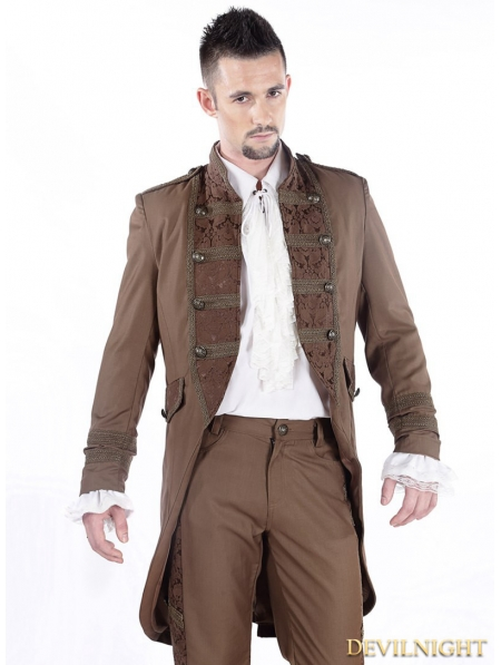 Brown Vintage Double-Breasted Steampunk Jacket for Men ...   450 x 597 jpeg 139kB