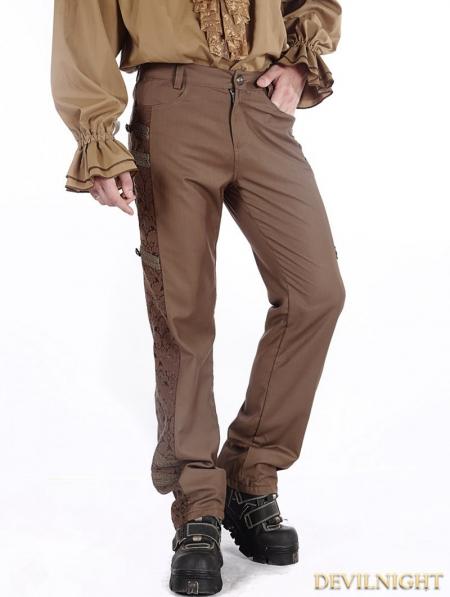 Brown Vintage Steampunk Pants For Men Devilnight Co Uk