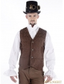 Brown Vintage Steampunk Vest for Men