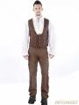 Brown Vintage Steampunk Waistcoat for Men