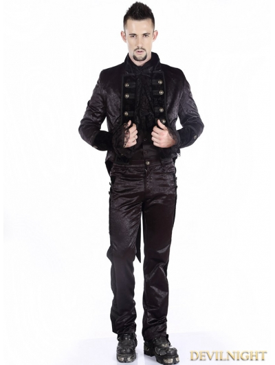 Black Gothic Tuxedo Jacket for Men