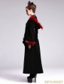 Black Gothic Hooded Long Coat with Red Fur