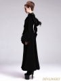 Black Gothic Hooded Long Coat with Fur