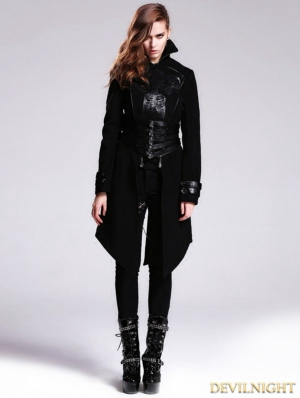 Black Gothic Punk Skull Detachable Short and Long Trench Coat for Women