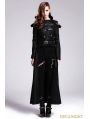 Black Gothic Punk Detachable Short and Long Trench Coat for Women