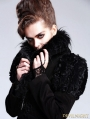 Black Gothic Short Jacket with Detachable Fur Collar