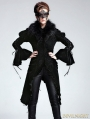 Black Vintage Velvet Gothic Jacket with Detachable Fur Collar