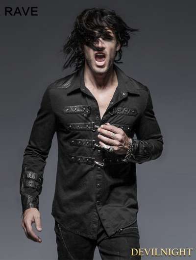 Black Gothic Punk Blouse for Men with Lock Decoration