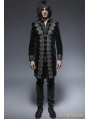 Black Gothic Aesthetic Embossed Coat for Men