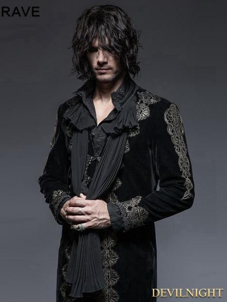 Black Gothic Aesthetic Embossed Coat For Men Devilnight