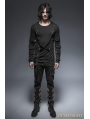 Black Gothic Punk Cross Long Sleeves T-Shirt for Men