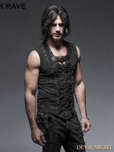 Black Gothic Fron Strap Vest for Men